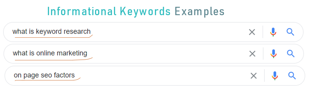 3 examples of informational keywords