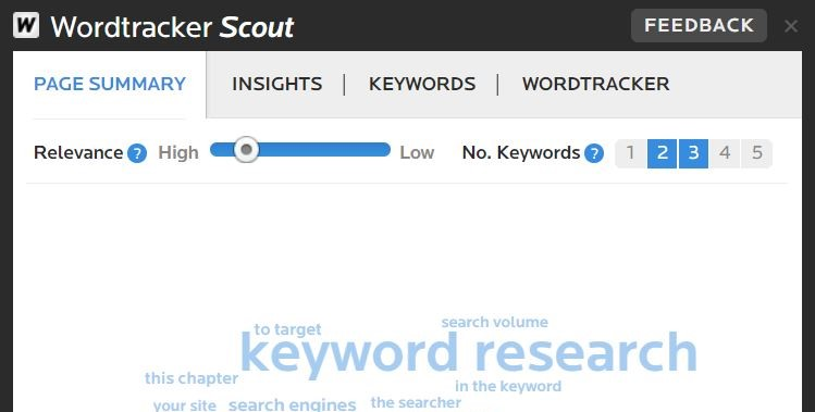 screenshot of wordtracker scout chrome extension on the page summary tab